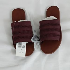 NWT  Roxy Dark Plum Slides/Sandals